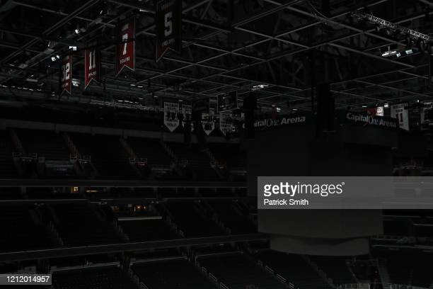 The scoreboard is seen off and spectator seating is empty prior to the Detroit Red Wings playing against the Washington Capitals at Capital One Arena...