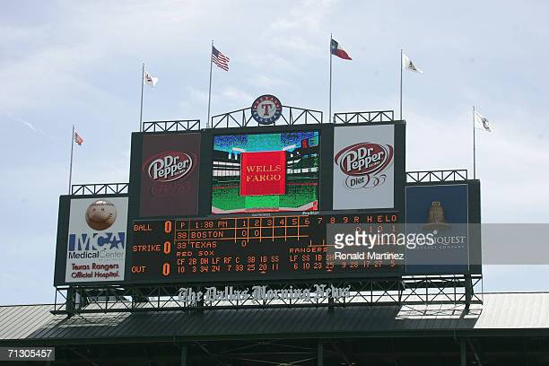 The scoreboard is shown during the Opening Day game between the Texas Rangers and Boston Red Sox on April 3 2006 at Ameriquest Field in Arlington in...