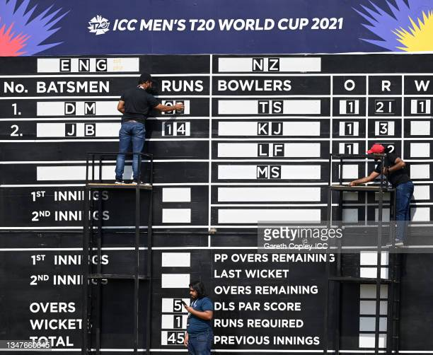 The scoreboard is updated during the England and New Zealand warm Up Match prior to the ICC Men's T20 World Cup at on October 20, 2021 in Abu Dhabi,...