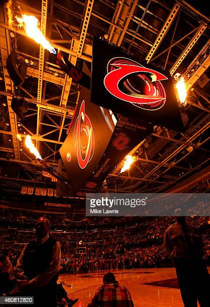 The scoreboard lights up during player introduction before a game against the Minnesota Timberwolves at Quicken Loans Arena on December 23 2014 in...