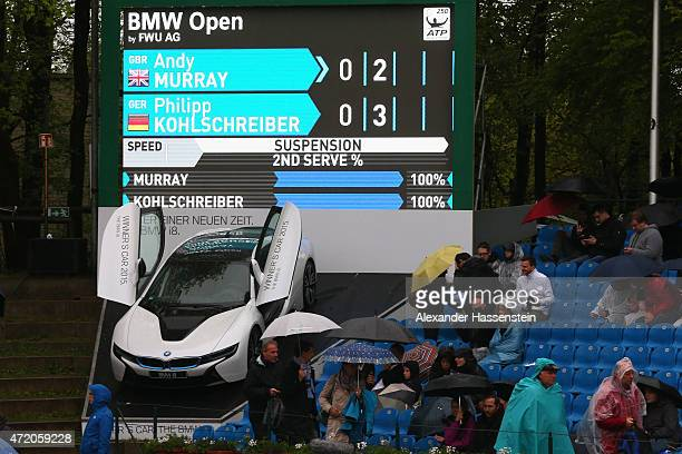 The scoreboard of the centre court during a rain break at the finale match between Andy Murray of Great Britain and Philipp Kohlschreiber of Germany...