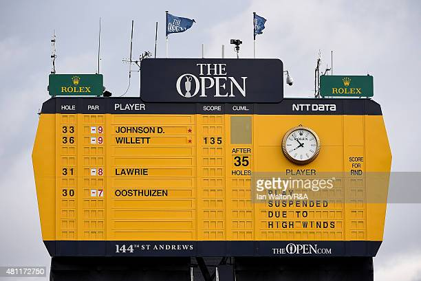 The scoreboard on the 18th green shows that play has been suspended due to high winds during the second round of the 144th Open Championship at The...