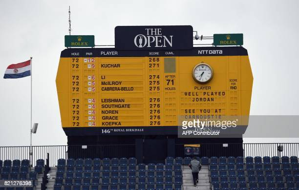 The scoreboard on the 18th hole shows the winner US golfer Jordan Spieth after he wins the 2017 British Open Golf Championship at Royal Birkdale golf...