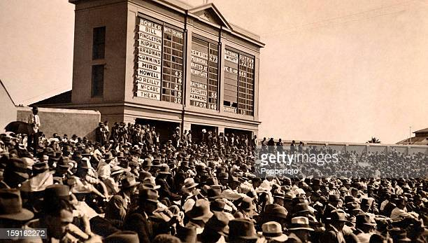 The scoreboard on the top of the hill at the Sydney cricket ground in Australia during the match between New South Wales and the MCC England touring...