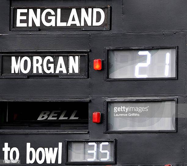The scoreboard operators put back in the name of Ian Bell of England after he is re instated in the spirit of the game after being given run out on...