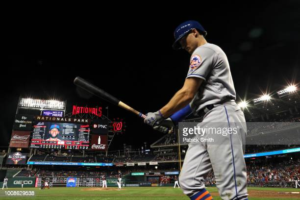 The scoreboard reads 254 after the New York Mets lost to the Washington Nationals at Nationals Park on July 31 2018 in Washington DC