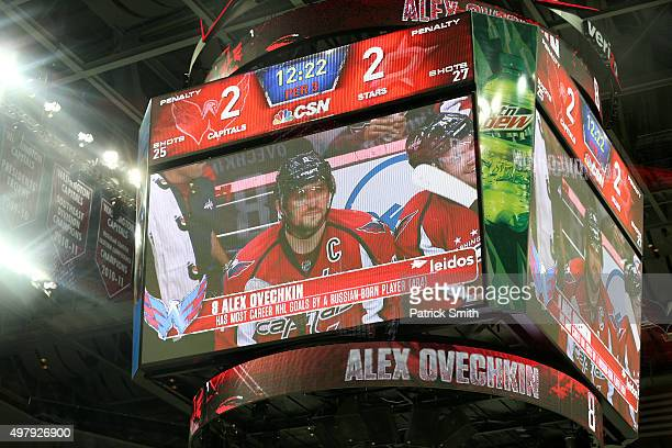 The scoreboard show Alex Ovechkin of the Washington Capitals after his third period goal against the Dallas Stars at Verizon Center on November 19...