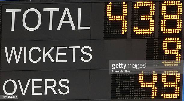 The scoreboard show South Africa's World Record score of 9/438 during the fifth One Day International between South Africa and Australia played at...