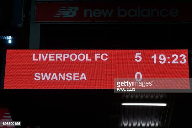 The scoreboard show the final whistle score 50 at the end of the English Premier League football match between Liverpool and Swansea City at Anfield...