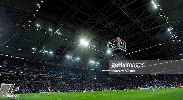 The scoreboard showing 02 in the The Veltins Arena the home stadium of FC Schalke 04