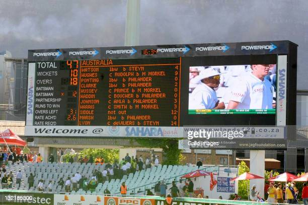 The scoreboard showing Australia all out of 47 runs during day 2 of the 1st Sunfoil Series Test match between South Africa and Australia at Sahara...