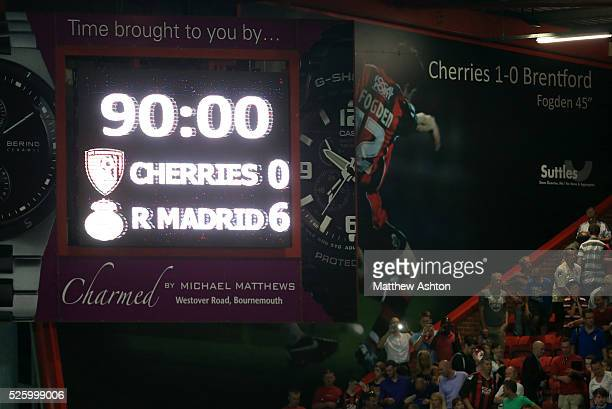 The scoreboard showing the 60 score to Real Madrid against Bournemouth