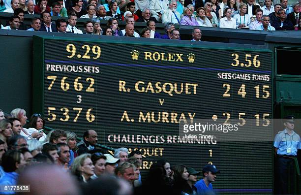 The scoreboard showing the finish time of 929pm during Andy Murray of Great Britain's men's singles round four match against Richard Gasquet of...
