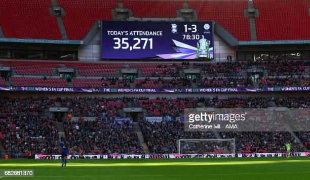 The scoreboard showing the record attendance during the SSE Women's FA Cup Final between Birmingham City Ladies and Manchester City Women at Wembley...