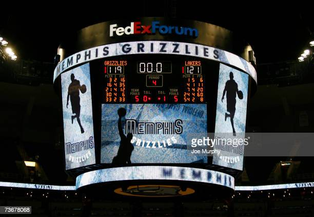 The scoreboard shows 60 points scored by Kobe Bryant of the Los Angeles Lakers FedExForum in Memphis, Tennessee. NOTE TO USER: User expressly...