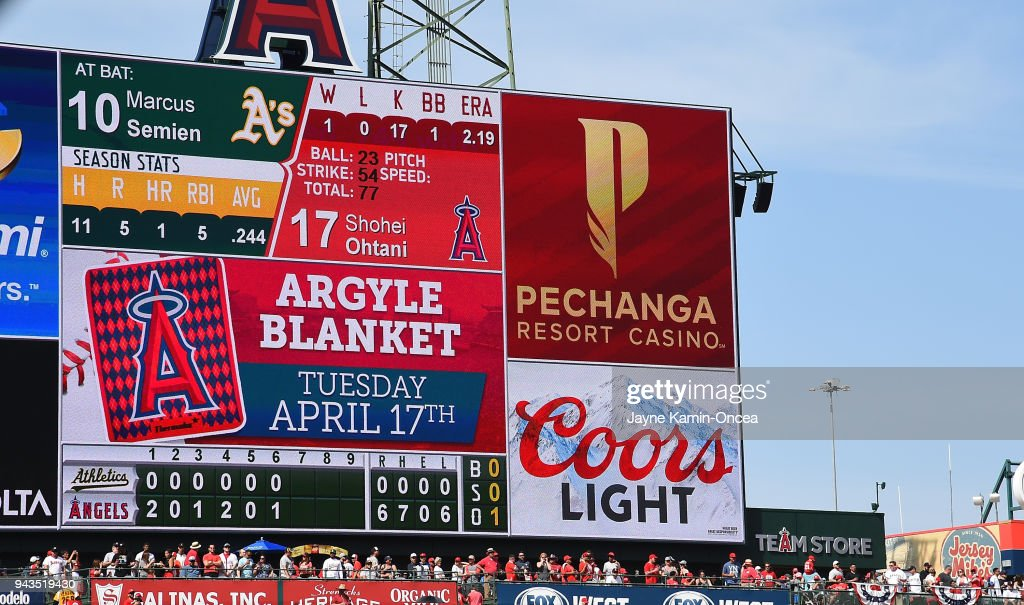 The scoreboard shows a perfect game by Shohei Ohtani #17 of the Los Angeles Angels through six innings against the Oakland Athletics at Angel Stadium of Anaheim on April 8, 2018 in Anaheim, California.