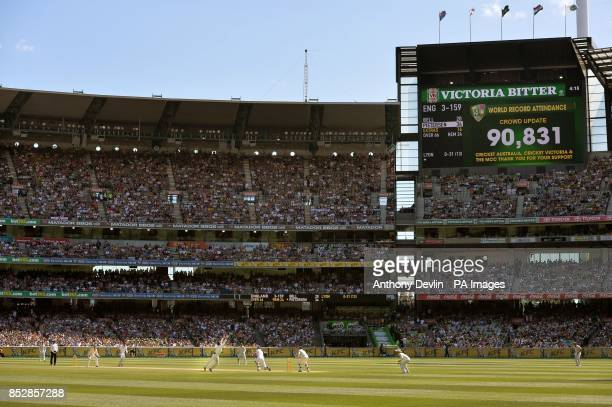 The scoreboard shows a record attendance during day one of the Fourth Test at the MCG in Melbourne Australia