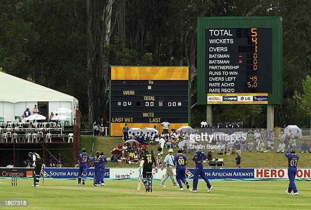 The scoreboard shows Chaminda Vaas of Sri Lanka first over during the ICC Cricket World Cup 2003 Pool B match between Sri Lanka and Bangladesh held...