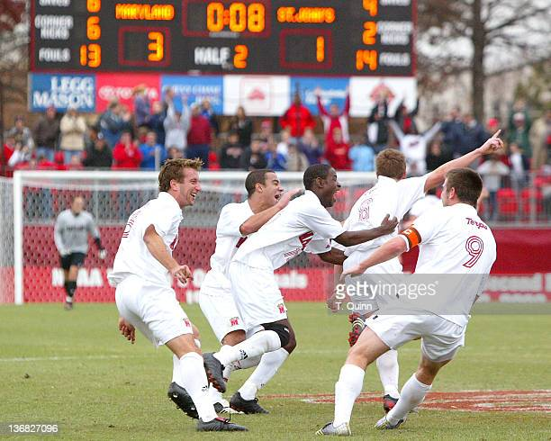 The scoreboard shows eight seconds remaining as Robbie Rogers of Maryland has just scored the teams third goal in a game where Maryland beat St...