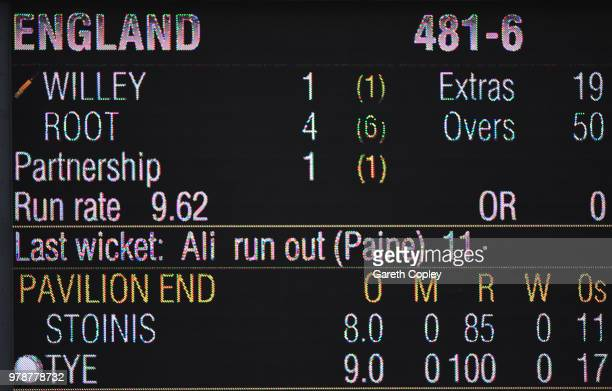 The scoreboard shows England's record ODI innings score during the 3rd Royal London ODI match between England and Australia at Trent Bridge on June...