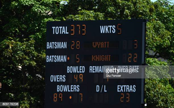 The scoreboard shows England's score after their innings during the ICC Women's World Cup 2017 match between England and South Africa at The County...