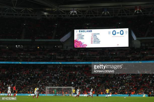 The scoreboard shows the 00 scoreline during the international friendly football match between England and Brazil at Wembley Stadium in London on...