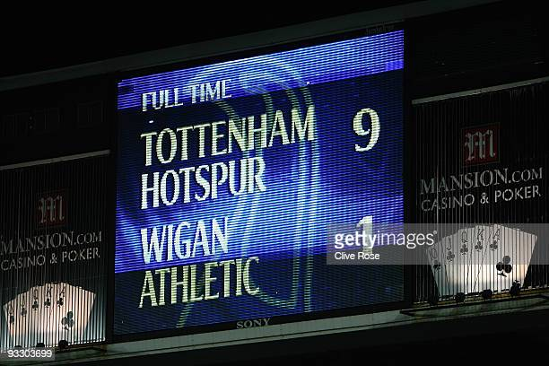 The scoreboard shows the 91 scoreline after the Barclays Premier League match between Tottenham Hotspur and Wigan Athletic at White Hart Lane on...