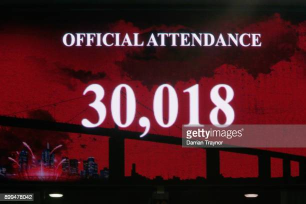 The scoreboard shows the attendance during the Big Bash League match between the Melbourne Renegades and the Perth Scorchers at Etihad Stadium on...