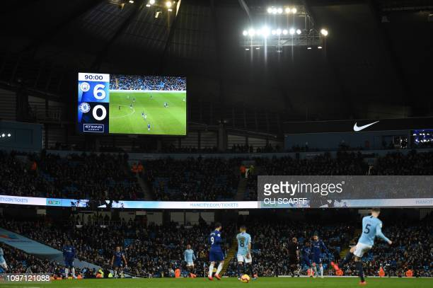 The scoreboard shows the fianl score of 60 at the end of the English Premier League football match between Manchester City and Chelsea at the Etihad...