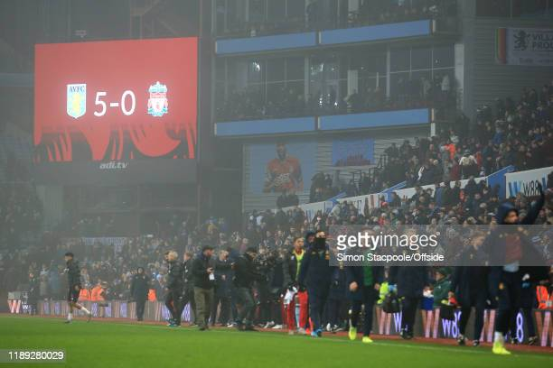 The scoreboard shows the final 50 scoreline after the Carabao Cup Quarter Final match between Aston Villa and Liverpool FC at Villa Park on December...