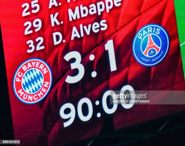 The scoreboard shows the final score 31 after the UEFA Champions League football match between Paris SaintGermain and Bayern Munich on December 5...