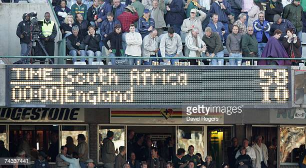 The scoreboard shows the final score after defeat in the rugby union international match between South Africa and England at Vodacom Park on May 26...