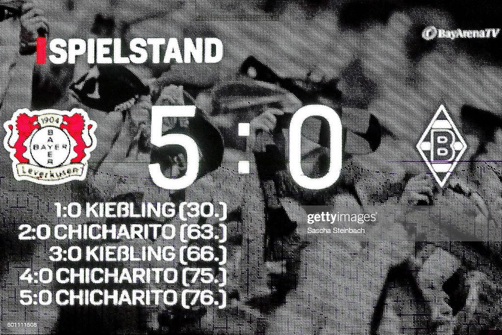 The scoreboard shows the final score after the Bundesliga match between Bayer Leverkusen and Borussia Moenchengladbach at BayArena on December 12, 2015 in Leverkusen, Germany.