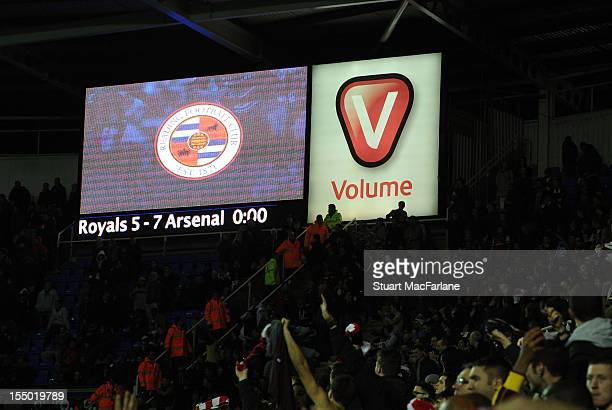 The scoreboard shows the final score after the Capital One Cup match between Arsenal and Reading at Madejski Stadium on October 30 2012 in Reading...