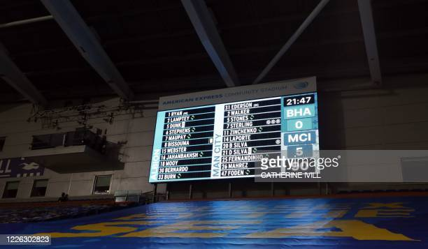 The scoreboard shows the final score after the English Premier League football match between Brighton and Hove Albion and Manchester City at the...