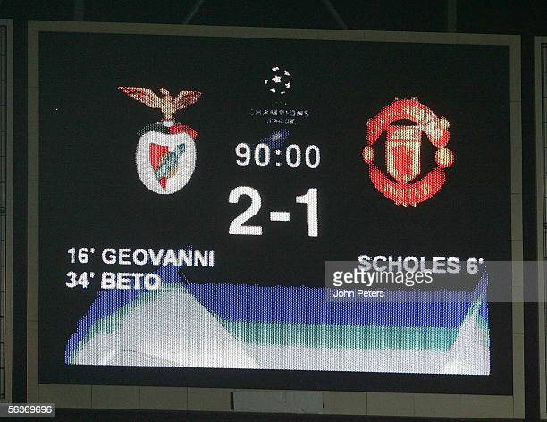 The scoreboard shows the final score after the UEFA Champions League match between Benfica and Manchester United at the Stadium of Light on December...