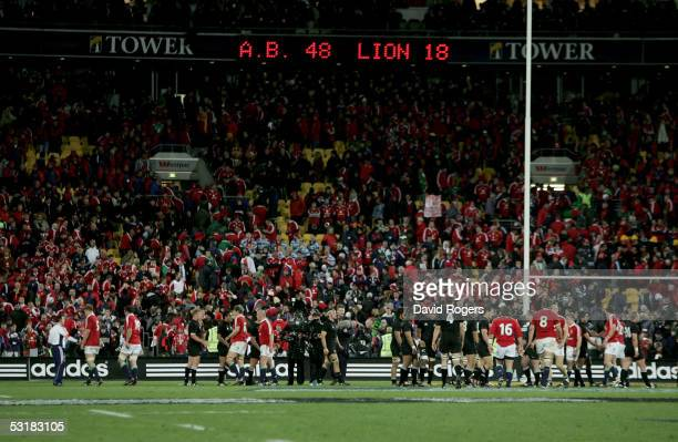 The scoreboard shows the final score at the end of the second test match between The New Zealand All Blacks and the British and Irish Lions at the...
