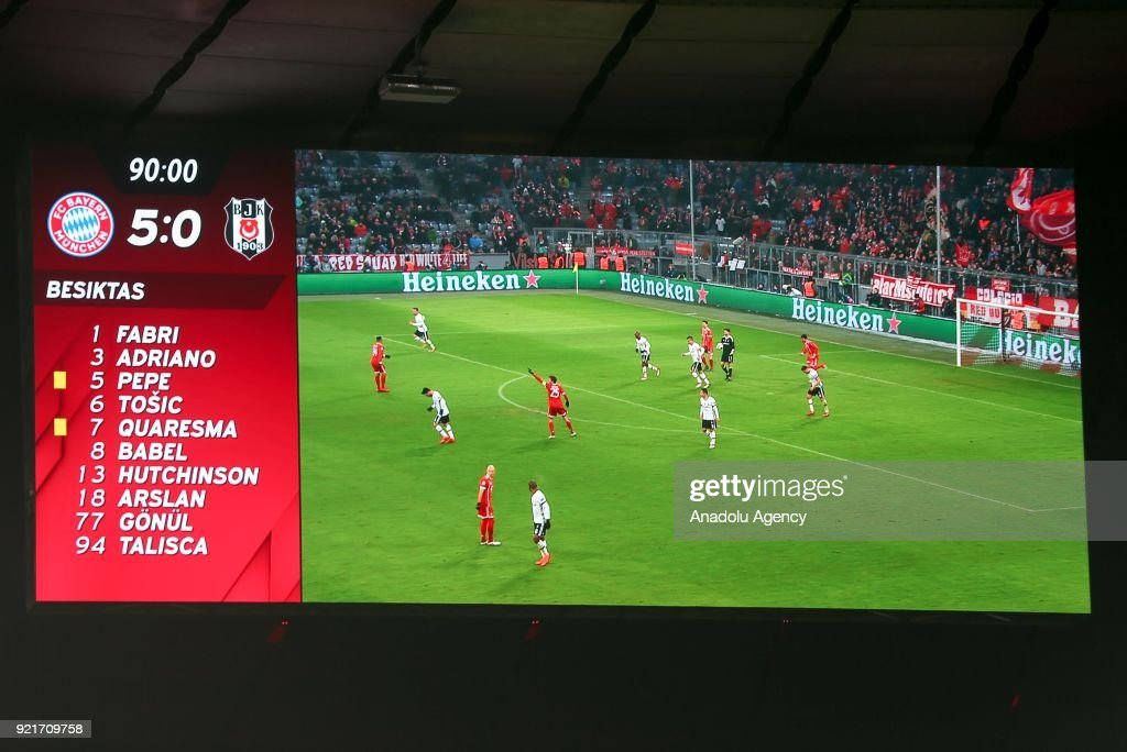 The scoreboard shows the final score at the end of the UEFA Champions League Round of 16 soccer match between FC Bayern Munich and Besiktas at the Allianz Arena in Munich, Germany, on February 20, 2018.