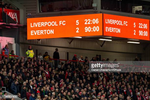 The scoreboard shows the final score during the Premier League match between Liverpool FC and Everton FC at Anfield on December 4 2019 in Liverpool...