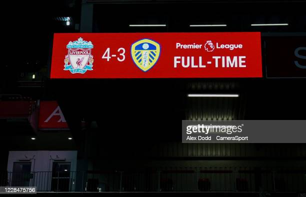 The scoreboard shows the final score during the Premier League match between Liverpool and Leeds United at Anfield on September 12, 2020 in...