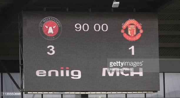 The scoreboard shows the final score during the UEFA Youth League match between Midtjylland U19s and Manchester United U19s at Herning MCH Multi...