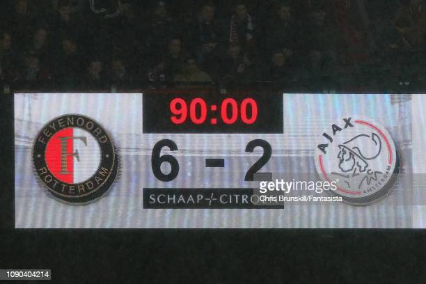 The scoreboard shows the final score following the Eredivisie match between Feyenoord and Ajax at De Kuip on January 27, 2019 in Rotterdam,...