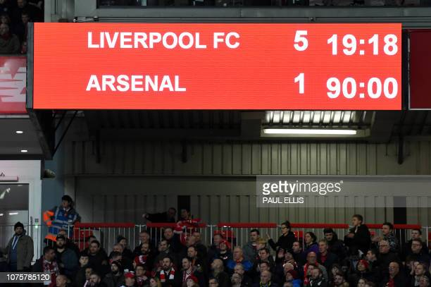 The scoreboard shows the final score for 51 to Liverpool at the 90 minute mark during the English Premier League football match between Liverpool and...