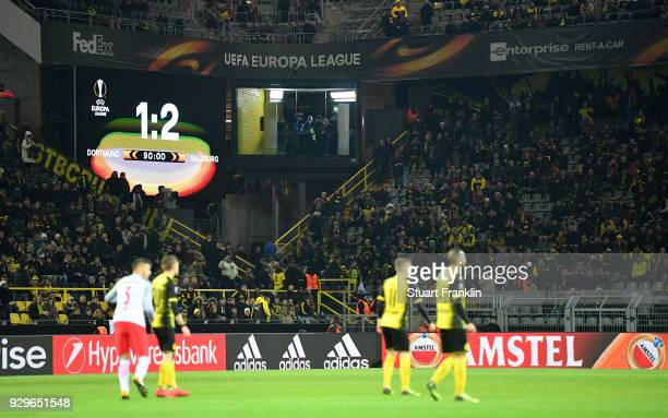 The scoreboard shows the final score of 12 after the UEFA Europa League Round of 16 match between Borussia Dortmund and FC Red Bull Salzburg at the...