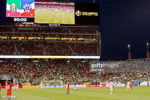 CLARA CALIFORNIA JUNE 18 The scoreboard shows the final score of 70 for Chile at the end of a Quarterfinal match between Mexico and Chile at Levi's...