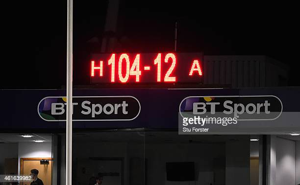 The scoreboard shows the final score of a 104 points to 12 victory for the Blues during the European Rugby Challenge Cup match between Cardiff Blues...