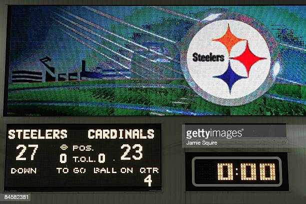 The scoreboard shows the final score of Pittsburgh Steelers 27 and the Arizona Cardinals 23 during Super Bowl XLIII on February 1, 2009 at Raymond...