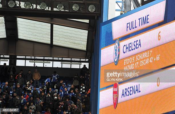 The scoreboard shows the fulltime score of Chelsea 6 Arsenal 0 at the end of the English Premier League football match between Chelsea and Arsenal at...