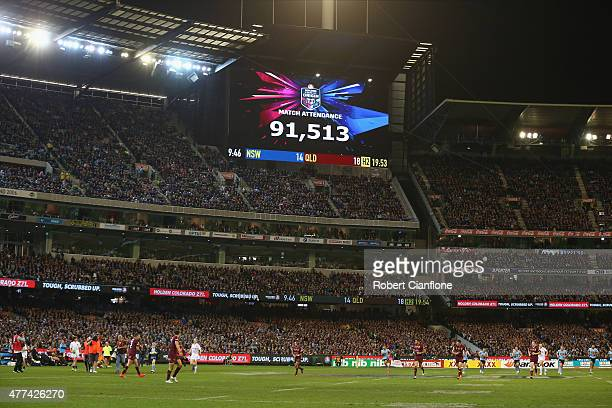 The scoreboard shows the match attendance of 91513 during game two of the State of Origin series between the New South Wales Blues and the Queensland...