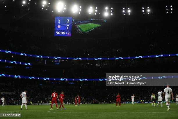 The scoreboard shows the result at the final whistle during the UEFA Champions League group B match between Tottenham Hotspur and Bayern Muenchen at...